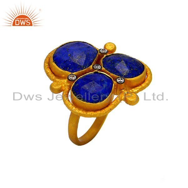 24K Yellow Gold Plated Sterling Silver Lapis Lazuli And CZ Cocktail Ring