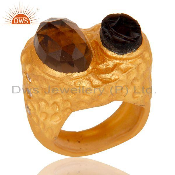 Textured Design Sterling Silver With 18K Gold Plated Smokey Ring with CZ