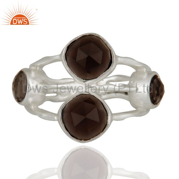 925 Sterling Silver Natural Faceted Smoky Quartz Gemstone Ring