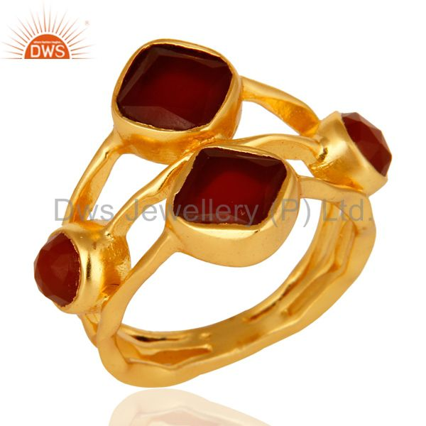Natural Red Onyx Designer Sterling Silver Gemstone Ring - 14K Gold Plated