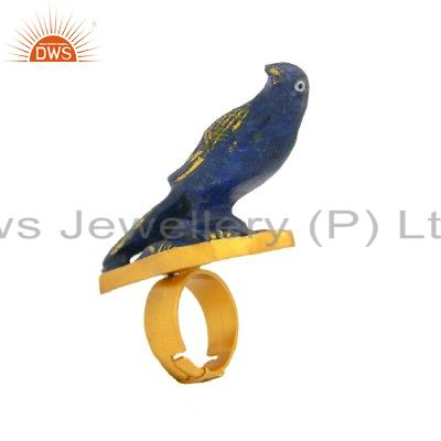 24K Yellow Gold Plated Sterling Silver Lapis Lazuli Carving Cocktail Ring