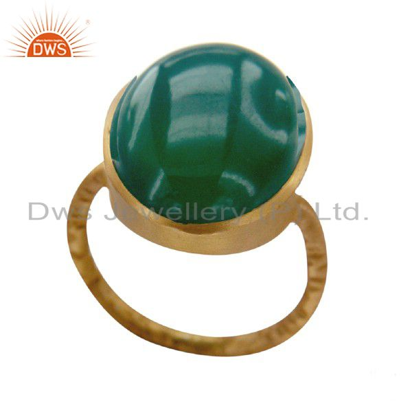 22K Yellow Gold Plated Sterling Silver Green Onyx Gemstone Statement Ring