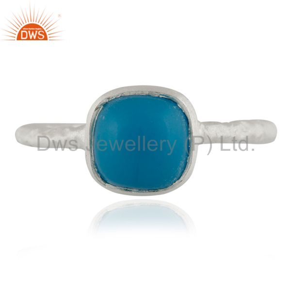Genuine 925 Sterling Silver Turquoise Gemstone Bezel Set Stacking Ring