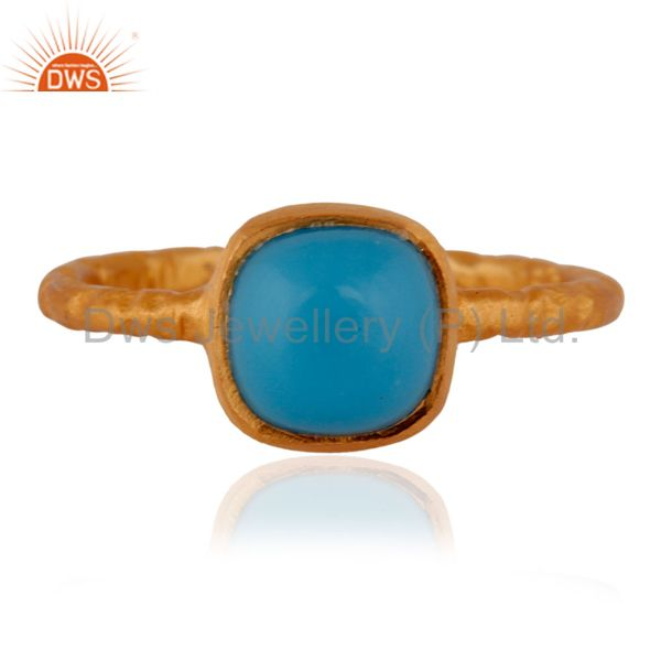 18K Yellow Gold Plated Textured Matte-Finish 925 Sterling Silver Turuqoise Ring