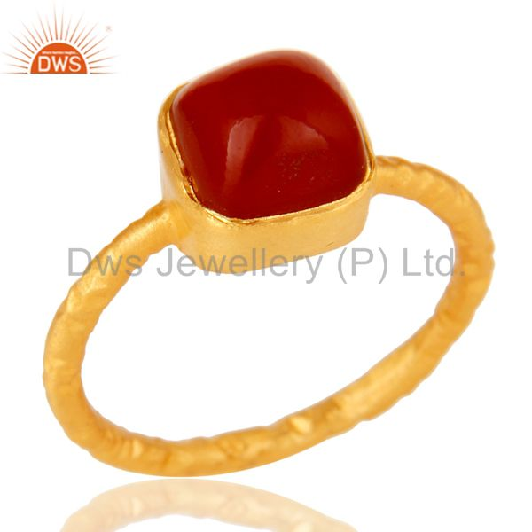 22K Yellow Gold Plated Sterling Silver Red Onyx Gemstone Stackable Ring