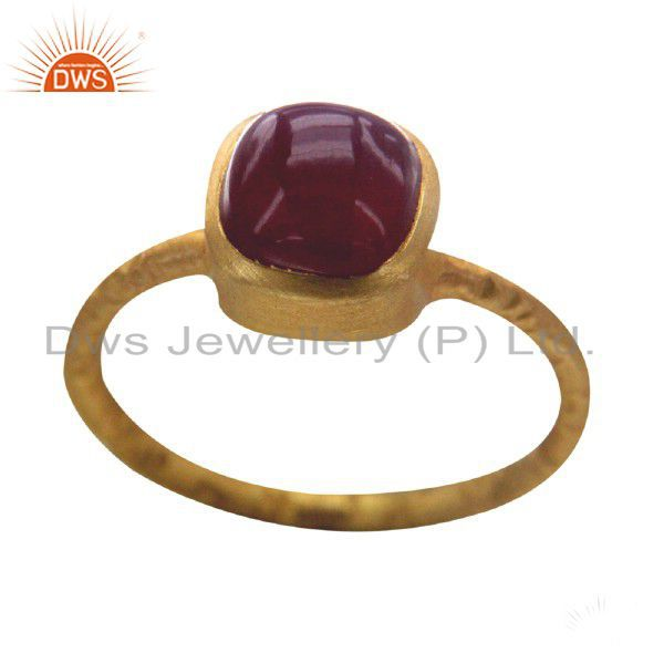18K Yellow Gold Plated Sterling Silver Red Onyx Gemstone Stack Ring