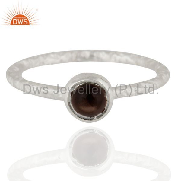 925 Sterling Silver Smoky Quartz Texture Finish Stackable Ring Jewelry