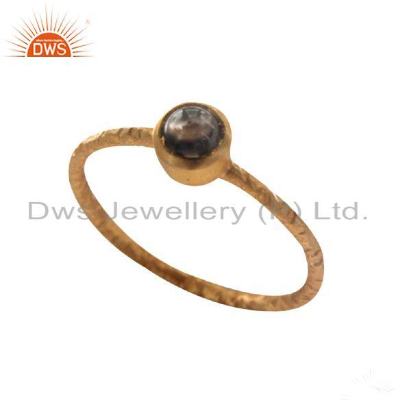 18K Yellow Gold Plated Sterling Silver Smoky Quartz Gemstone Stack Ring