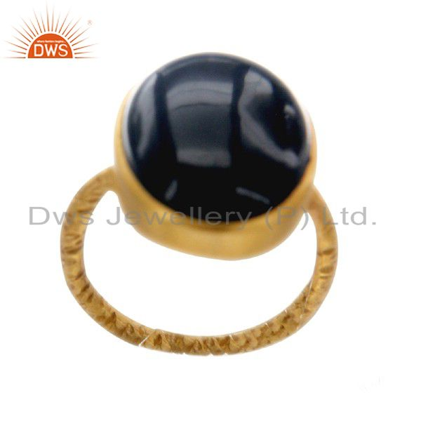 22K Yellow Gold Plated Sterling Silver Black Onyx Gemstone Statement Ring
