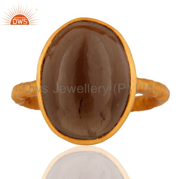 925 Sterling Silver Smoky Quartz Bezel-Set Statement Ring - Gold Plated