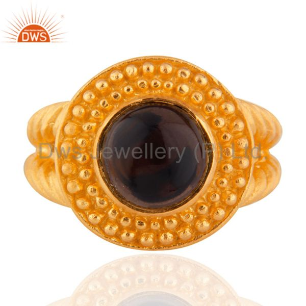 24K Yellow Gold Plated Smoky Quartz Sterling SIlver Matte Finish Ring Sz 7.5 US