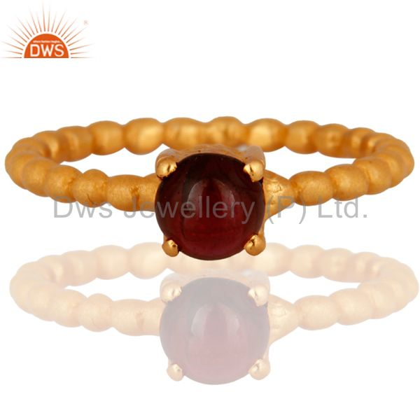 18K Yellow Gold Plated Sterling Silver Garnet Gemstone Prong Set Stack Ring