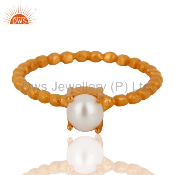 18K Yellow Gold Plated Sterling Silver Natural Pearl Prong Set Stack Ring