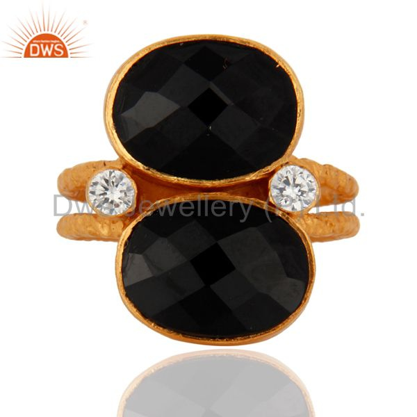Handmade 18K Gold Plated 925 Sterling Silver Black Onyx Gemstone Ring With CZ