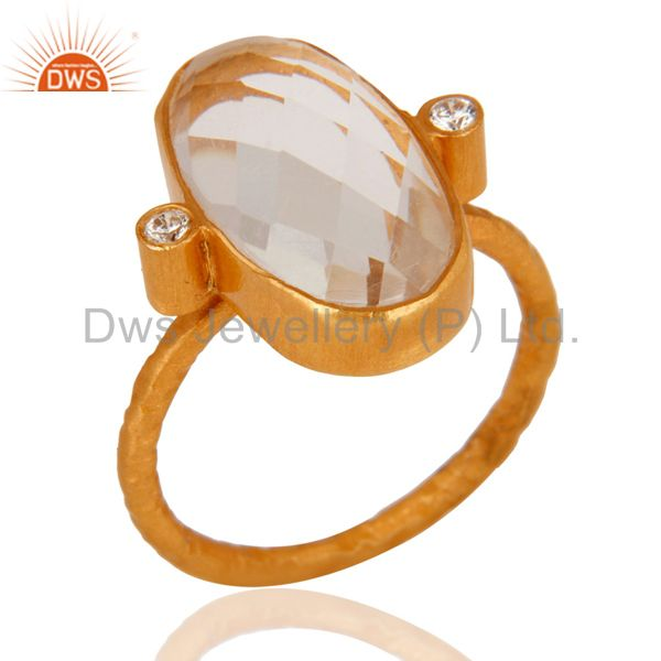 24K Gold Plated 925 Sterling Silver Genuine Rock Crystal Quartz Faceted Ring
