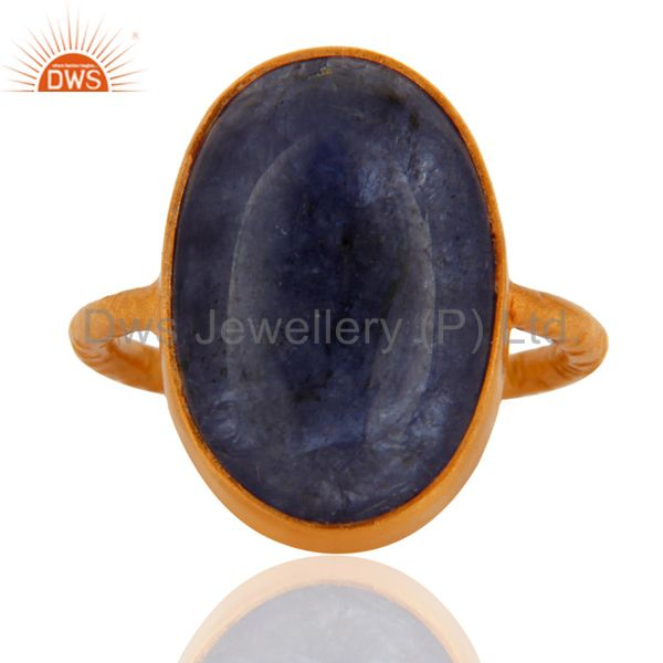 925 Sterling Silver Natural Tanzanite Gemstone Ring With Gold Plated Jewelry