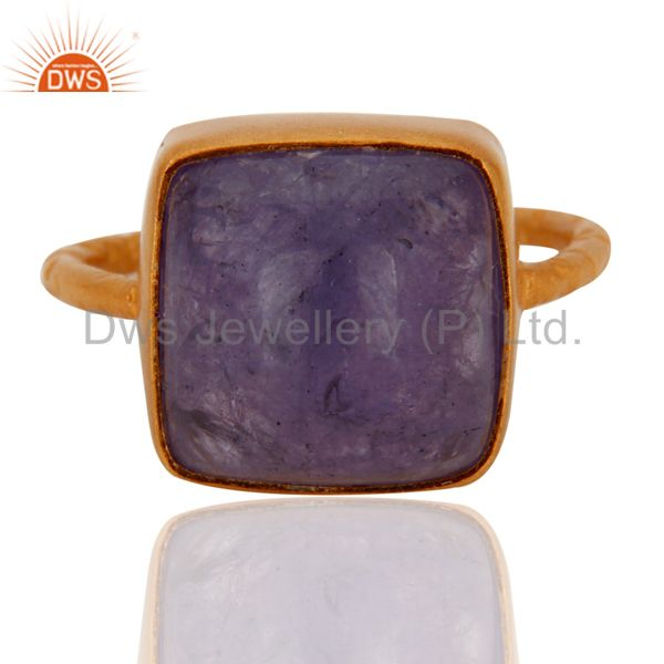 Natural Tanzanite Cabochon Gemstone Sterling Silver Gold Plated Handmade Ring