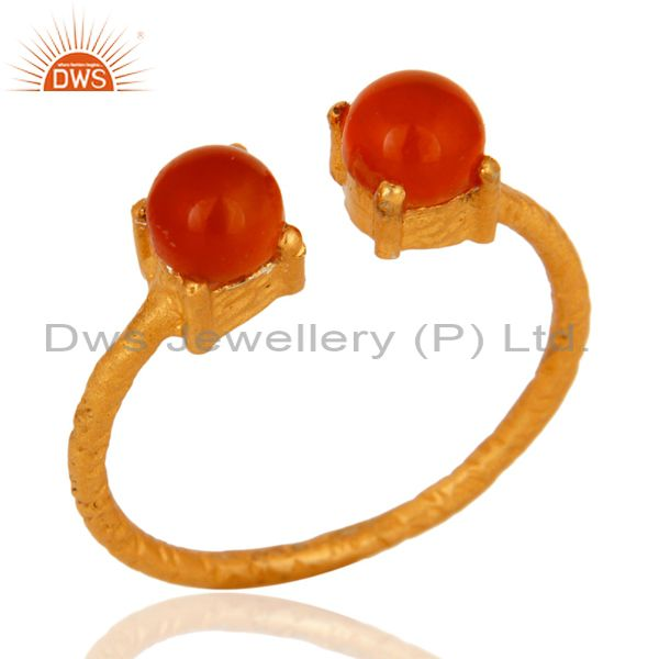 Natural Carnelian Gemstone Solid Sterling Silver Adjustable Ring - Gold Plated