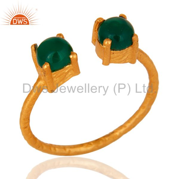 Natural Green Onyx Gemstone 18K Gold Plated Sterling Silver Prong Set Ring