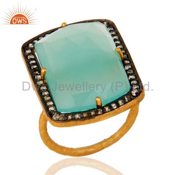 Aqua Blue Chalcedony Glass Stack Ring Made In 18K Gold Over Sterling Silver
