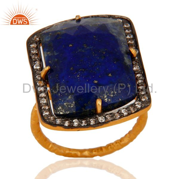 Gold Plated Sterling Silver Lapis Lazuli Gemstone Prong Set Ring W/ CZ Surround