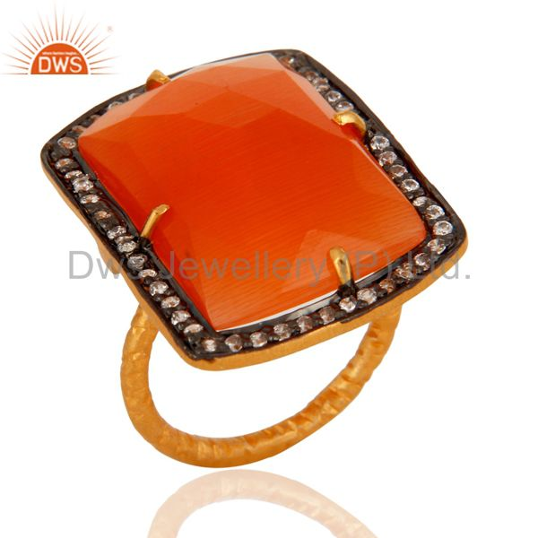 Handmade Red Onyx Faceted Semi-Precious Stone Gold Plated Sterling Silver Ring