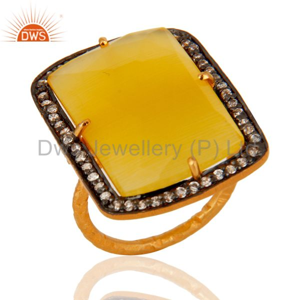 925 Sterling Silver Yellow Moonstone 22K Gold Plated Gemstone Ring With CZ