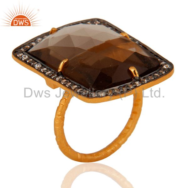 Gold Plated 925 Sterling Silver Faceted Gemstone Smokey Quartz Prong Set Ring