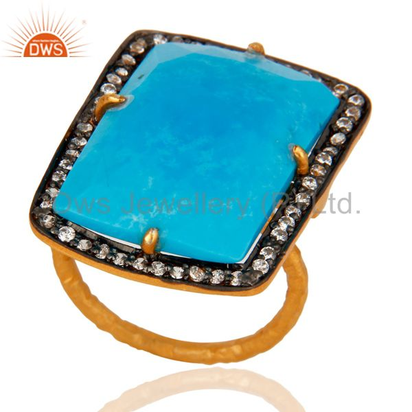 Handmade 22K Gold Plated 925 Sterling Silver Turquoise Gemstone Designer Ring