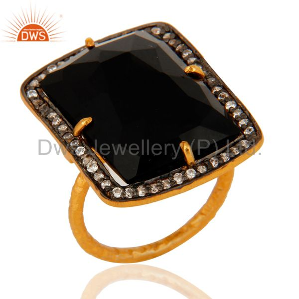 Handmade Black Onyx Gemstone Sterling Silver With Gold Plated Ring