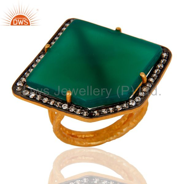 Handmade Indian Designer Green Onyx & CZ Ring 24K Gold Over 925 Sterling Silver
