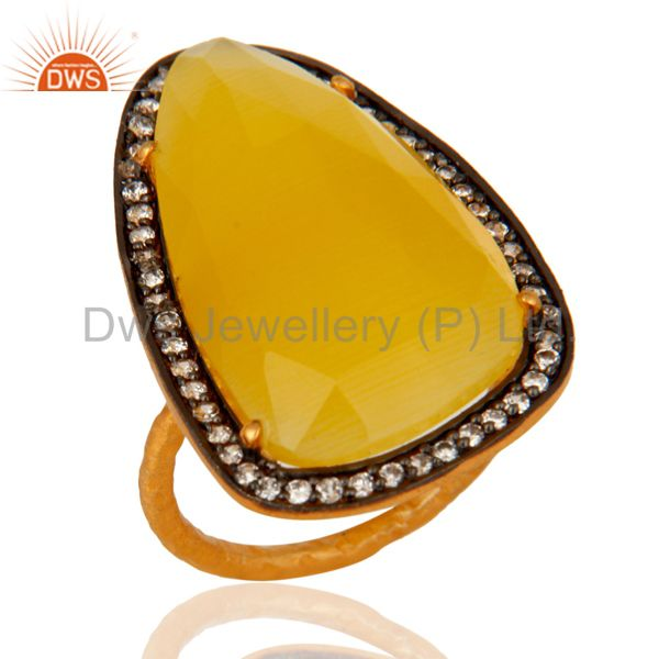 Faceted Yellow Moonstone 18kt Gold Plated Sterling Silver Fashion Ring With CZ