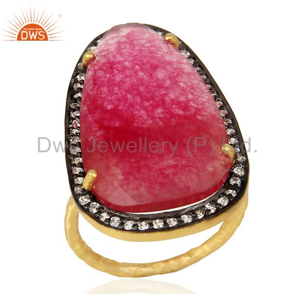 14K Gold Plated 925 Sterling Silver Red Aventurine CZ Gemstone Statement Ring