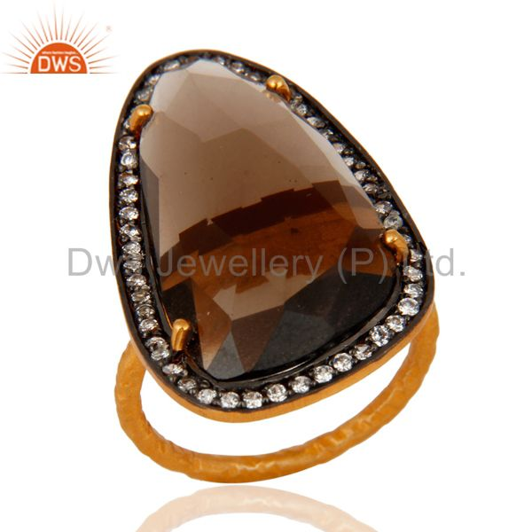 Handmade Natural Smoky Quartz Gemstone Ring 22K Gold On Sterling Silver Jewelry