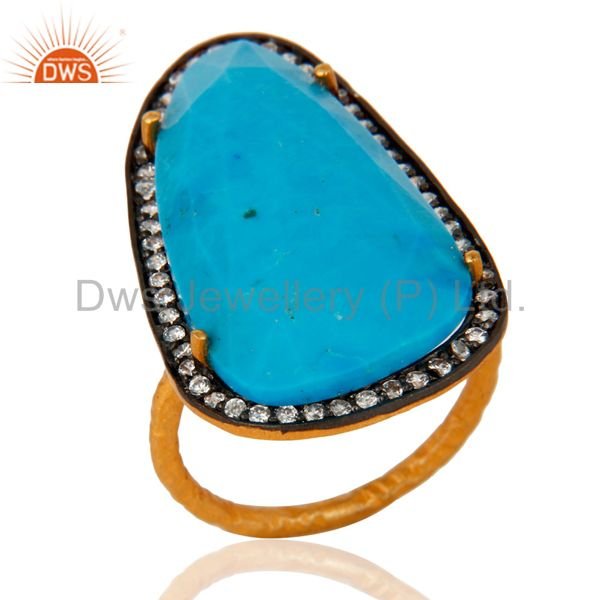 Turquoise & Zircon 22K Yellow Gold Plated Sterling Silver Gemstone Fashion Ring