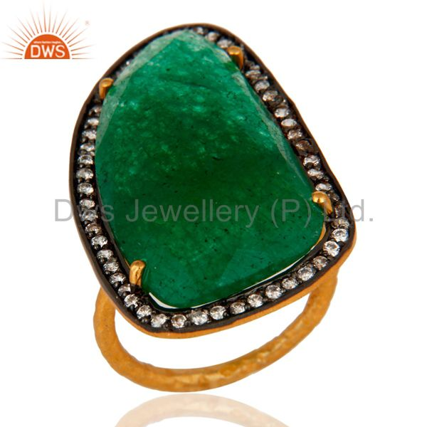 Green Aventurine Gemstone Handmade Ring With CZ In 24K Gold Over Sterling Silver