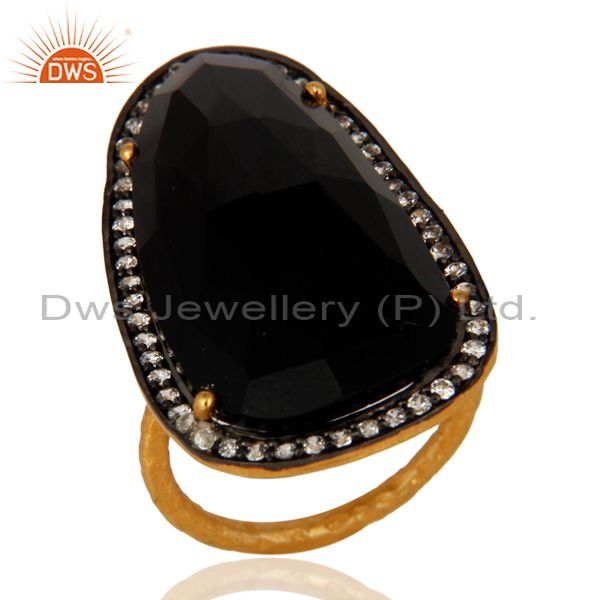 Beautiful Black Onyx & Cubic Zirconia 18K Gold Plated Sterling Silver Stone Ring