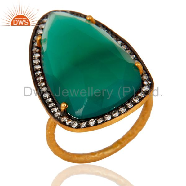 Handmade 925 Sterling Silver Real Green Onyx Gemstone Ring Gold Plated Jewelry