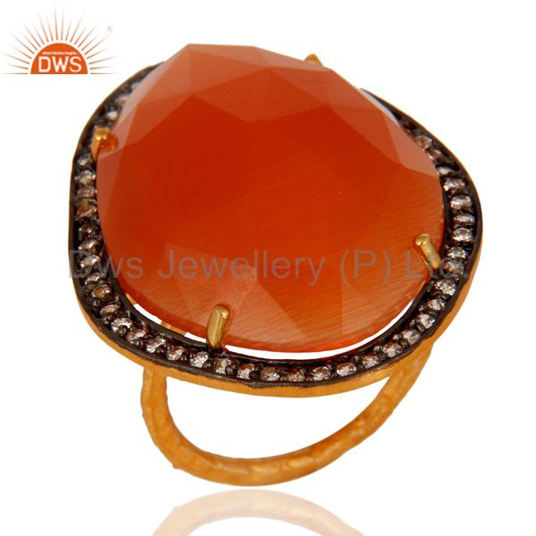 CZ Peach Moonstone Gemstone Gold Plated Silver Ring Manufacturer
