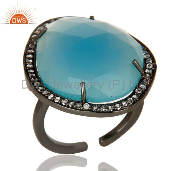 Blue Chalcedony Handcrafted Sterling Silver With Black Oxidized Open Ring
