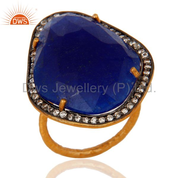 22K Gold Plated Over Sterling Silver Blue Aventurine Hammered Band Ring With CZ