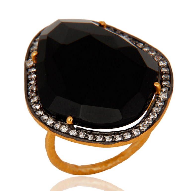 Natural Faceted Black Onyx Gemstone & CZ Sterling Silver Ring With Gold Plated