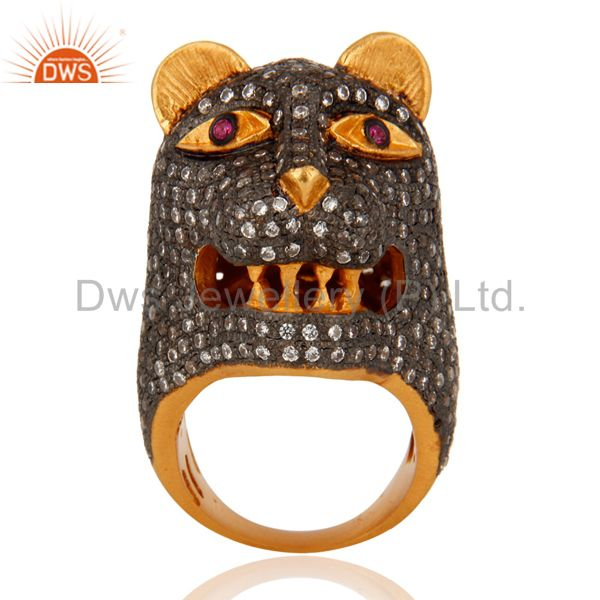 Indian Designer 18K Gold Plated 925 Sterling Silver Cubic Zirconia Tiger Ring
