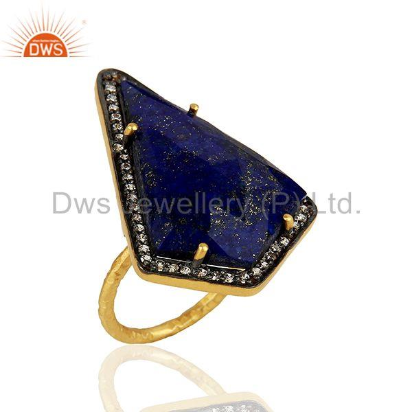 CZ & Lapis Gemstone Gold Plated 925 Silver Womens Ring Supplier