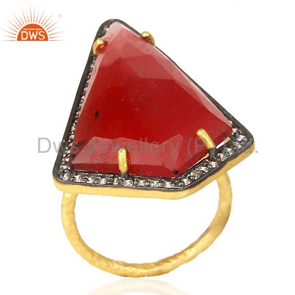 Handmade Hammered 22K Gold Plated Over Sterling Silver Designer Red Onyx Ring