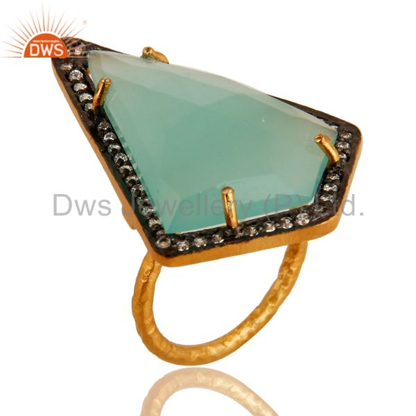 Prong Set Aqua Blue Glass Gemstone & CZ Gold Plated Sterling Silver Ring