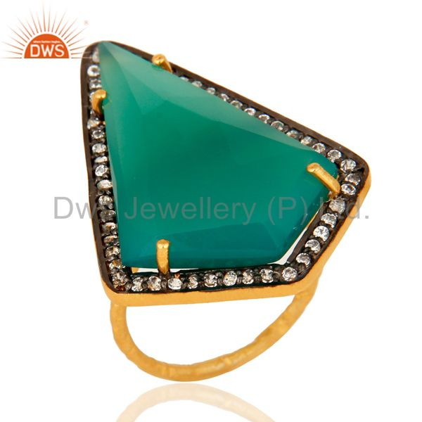 Handmade Green Onyx & Cubic Zirconia Gold Plated Sterling Silver Solitaire Ring