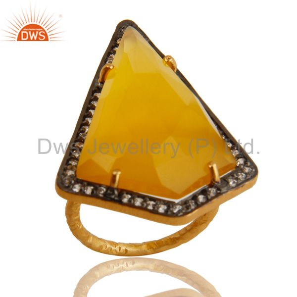 Yellow Chalcedony And CZ Fashion Ring In 18K Yellow Gold Over Sterling Silver