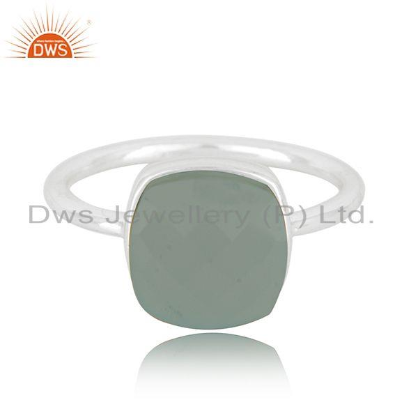 Aqua Chalcedony Gemstone Fine Sterling Silver Ring Manufacturer in India