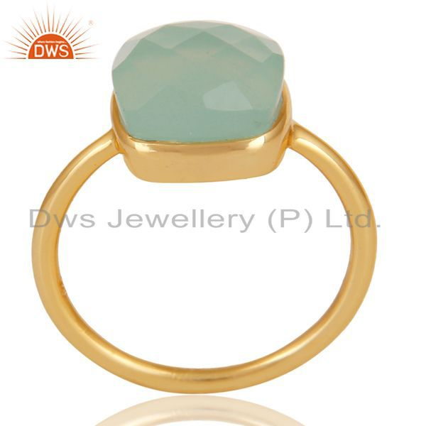 14K Gold Plated 925 Sterling Silver Faceted Dyed Chalcedony Statement Ring